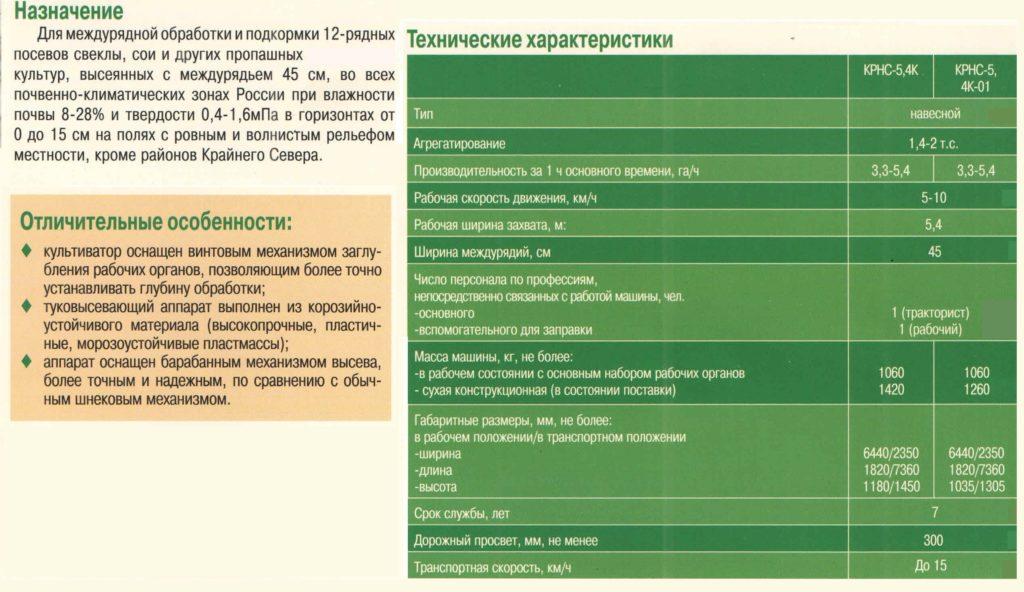 Культиватор-растаниепитататель навесной КРНС-5,4