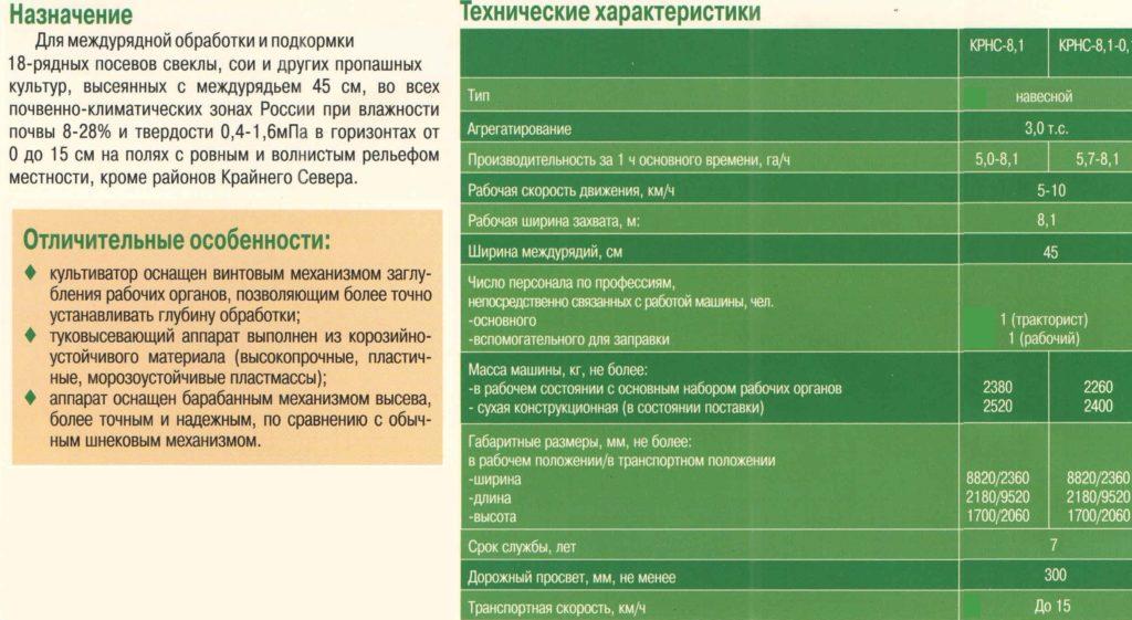 Культиватор-растениепитатель навесной КРНС-8,1
